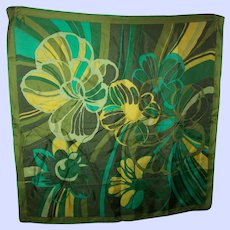 Vintage Green Floral Flower Power  Themed Print Ladies Fashion Accessory Scarf Wearable ART