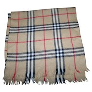Gently Used Plaid Merino Wool Fringed Unisex  Fashion Accessory Scarf