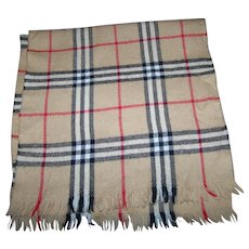 Gently Used Plaid Merino Wool Fringed Unisex  Fashion Accessory Scarf