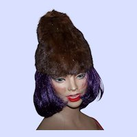 Young Ladies Vintage Mink Fur Fashion Hat By Roberta Originals