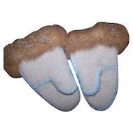 Stitched Hand Made Children's Small Felted Wool and Rabbit Fur Mittens