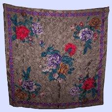 Floral Pattern Designer Signed Liz Claiborne Silk Scarf Wearable ART
