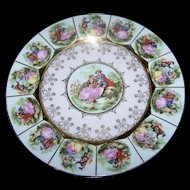 "Fragonard Colonial Love Story 10.5"" Decorative Plate  Signed Heavy Gold Decoration"