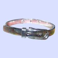 Stylish Vintage Silvertone Metal Buckle Bangle Bracelet Hinged Style