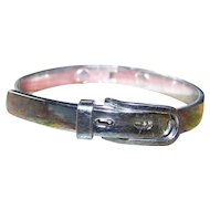 Stylish Vintage Silvertone Metal Buckle Bangle Bracelet Hinged Style