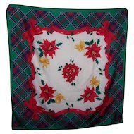 Colorful Xmas Christmas  Ladies Fashion Accessory Scarf Tartan Bow Poinsettia Theme