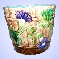 A Beautiful  ORCHIES France Majolica  Jardiniere Planter Cache Pot