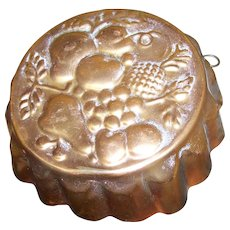 7 1/2 by 2 1/2 Embossed Fruit Copper Mold with Wall Hanging Finding