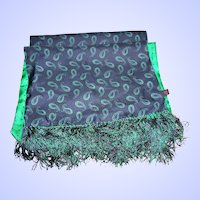 Lovely Quality Long Rectangular Fringes Fashion Scarf Paisley Polka Dot 100% Silk Made in England