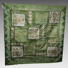 A Lovely Vintage Ladies Pure  SIlk Fashion Scarf by Kimball Gold Painted Decoration