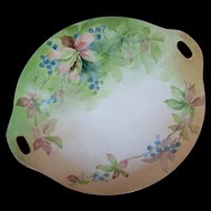 Royal Austria O&EG Hand Painted  Handled Porcelain Berry Vine Leaf Pattern Cake Plate