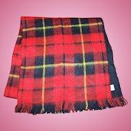 Vintage Lauren Liz Designer Red Plaid Tartan Style Fringed Scarf Fashion Accessory