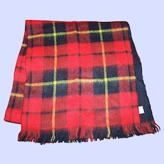 Vintage Lauren Liz Designer Red Plaid Tartan Style Fringed Scarf Fashion Accessory