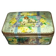 A Rare Collectible Vintage Advertising Tin Box A Distinguished Member of The Humane Society After Sir E Landseer