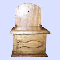 Vintage Wall Mount Wood Lite Oak Salt Box Cod Fish Decoration Themed