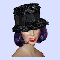 Vintage 1960's Era  Hat Black Cellophane & Natural Straw Grosgrain Ribbon & Hat Pin in Place