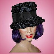 Vintage 1960's Era  Hat Black Cellophane & Natural Straw Grosgrain Ribbon & Hat Pin in Place