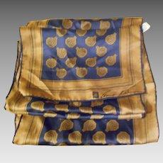 Lovely Long Rectangular Designer Signed Anne Klein  for Robinson Golluber Silk Scarf Made in Japan