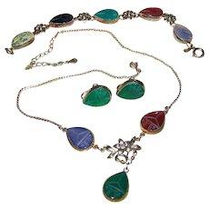 Beautiful Vintage AMCO  1/20-12 KT Gold Filled Carved Gemstone  Scarab Set Earring Bracelet Necklace