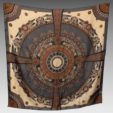 Lovely Large Designer Signed Perry Ellis Silk Decorative Print Fashion Scarf
