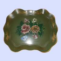 Wonderful Vintage Hand Painted Toleware Metal Serving Tray Floral Themed Home Decor
