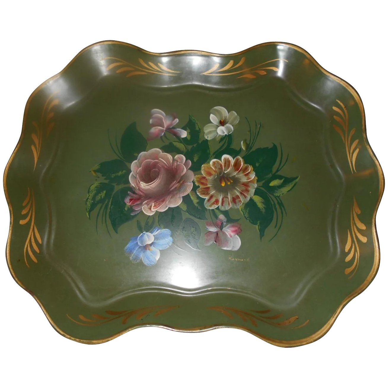 Wonderful Vintage Hand Painted Toleware Metal Serving Tray Floral Victoria S Purrrrfect Treasures Ruby Lane