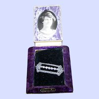 Vintage Crushed Velvet Jewelry Presentation Box with Photo & Pot Metal Pin