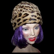 Lovely Quality Real Spotted Fur Ladies Vintage Fashion Hat