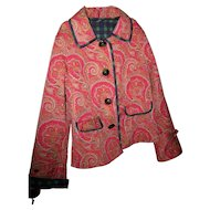 Lovely Vintage Paisley Plaid Reversible Ladies Fashion Jacket Blazer  Size Medium