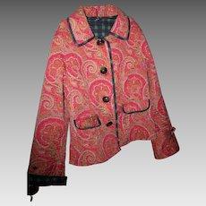 Lovely Vintage Paisley Plaid Reversible Ladies Fashion Jacket Blazer  Size Medium