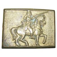 Unique VIntage Brass Belt Buckle Man on Horse Rifle Fashion Accessory DOM REG Co of Toronto
