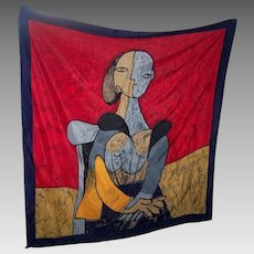 Picasso Art  Silk Scarf Featuring Woman Portrait Cubist  Rolled Edges Wearable ART