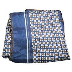 Vintage Unisex Silk OP Art Pattern Scarf Rolled Edges Wearable ART