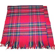 Lovely Gently Used Vintage Red Plaid Scarf Fringed Ends Wool Blend