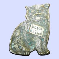 Vintage BORN BLIND Brass Kitten Kitty Cat  Tray Trinket Charity  Dish