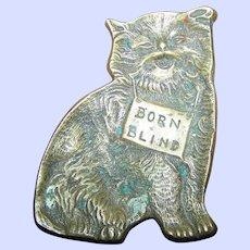 Vintage BORN BLIND Brass Kitten Kitty Cat  Tray Trinket Charity  Dish