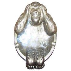 Worried Monkey Ape Holding Head Novelty Brass Smoking Smokers  Ashtray