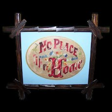 Needle Point Embroidery Motto Sampler No Place Like Home Wooden Eastlake Folk Art Style  Frame