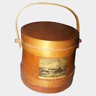 Primitive Style  Wooden Firkin Sugar Bucket~Farm House Cottage