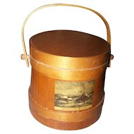 Primitive Style  Wooden Firkin Sugar Bucket~Farm House Cottage