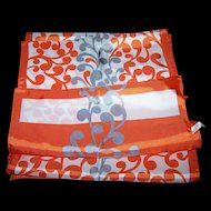 A Lovely Vintage Orange Gray and White Long Rectangularr Acetate Scarf Made in Italy