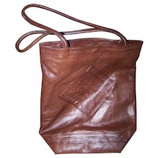 Wonderful Quality Gently Used  Decorative Tooled Kid Leather Hand Bag Purse Bag