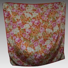 Such A Pretty All Over Rose Flower Pattern Silk Scarf Wearable ART