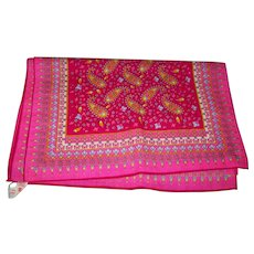 A Specialty House  All Wool Made In Japan Pretty in Pink Long Rectangular  Scarf Decorative Paisley Theme