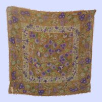 Pretty Floral Inspired Fringed Wool  Cashmere Silk Scarf
