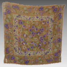 Pretty Floral Inspired Fringed Wool  Cashgmere Silk Scarf