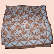 Pretty Floral Themed Brown & WHite Ladies Fashion Scarf