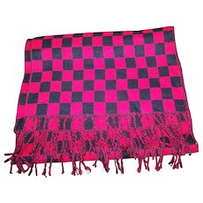 100 % Cashmere Red & Black Checkered Long Rectangular Fringed Scarf Made in Scotland