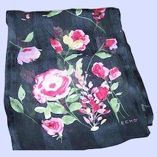 Designer Signed ECHO Floral Themed Long Rectangular Silk Scarf Wearable Art