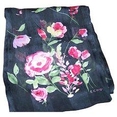 Designer Signed ECHO Floral Themed Long Rectangular Silk Scarf